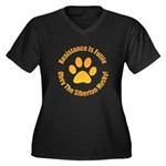Siberian Husky Women's Plus Size V-Neck Dark T-Shi