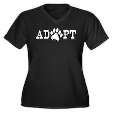 Adopt an Animal Women's Plus Size V-Neck Dark T-Sh