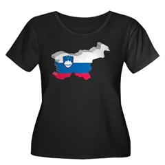 3D Map Of Slovenia Women's Plus Size Scoop Neck Da