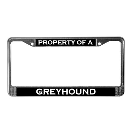 Property of Greyhound License Plate Frame