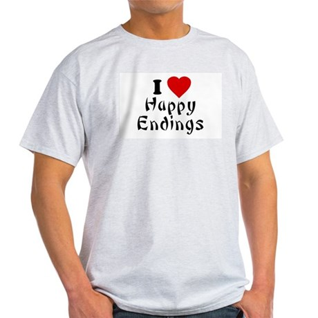 I Love [Heart] Happy Endings Ash Grey T-Shirt