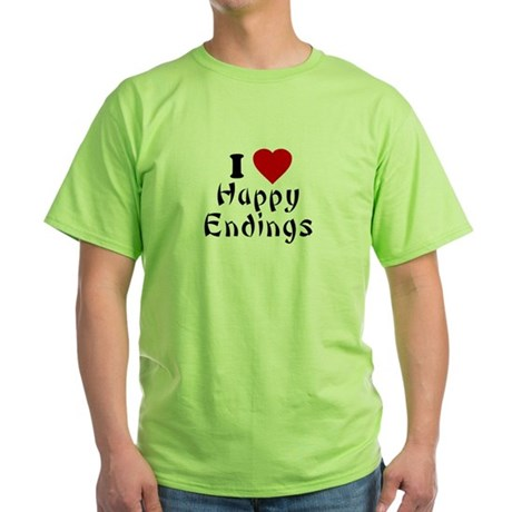 I Love [Heart] Happy Endings Green T-Shirt