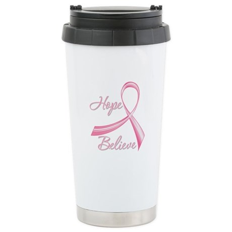 Breast Cancer HopeBelieve Ceramic Travel Mug