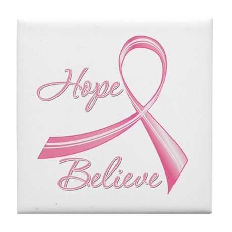Breast Cancer HopeBelieve Tile Coaster
