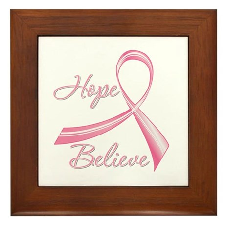 Breast Cancer HopeBelieve Framed Tile