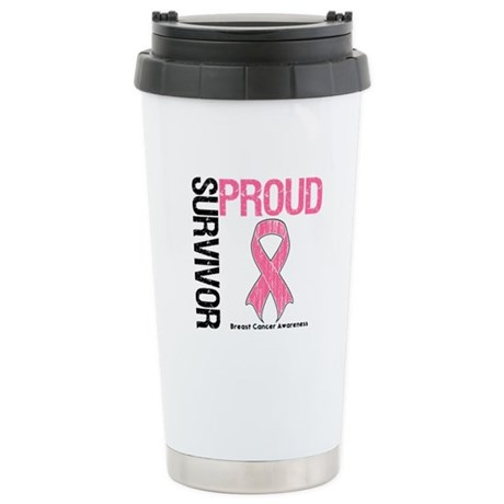 BreastCancer ProudSurvivor Ceramic Travel Mug