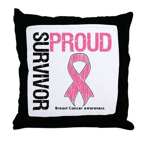 BreastCancer ProudSurvivor Throw Pillow