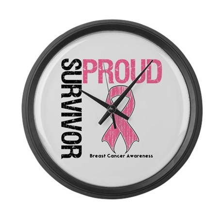 BreastCancer ProudSurvivor Large Wall Clock