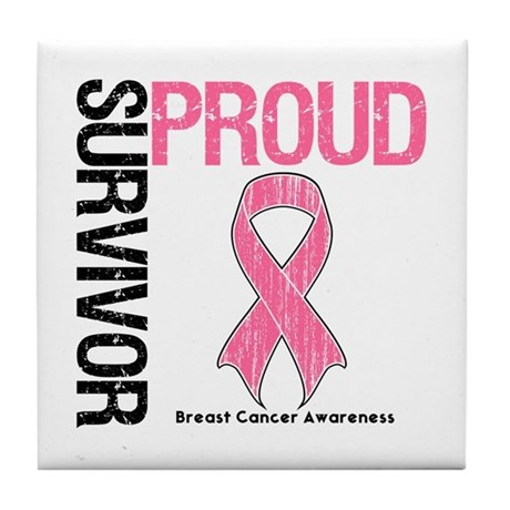 BreastCancer ProudSurvivor Tile Coaster