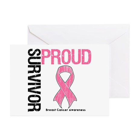 BreastCancer ProudSurvivor Greeting Cards (Pk of 2