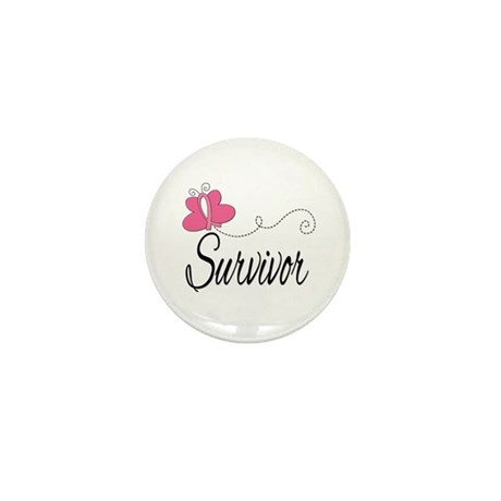 Butterfly Breast Cancer Mini Button (100 pack)