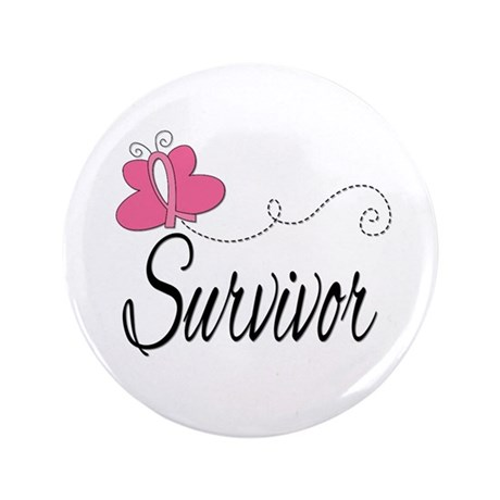 "Butterfly Breast Cancer 3.5"" Button"
