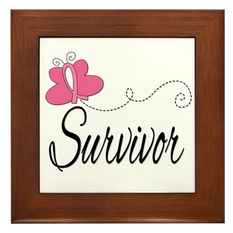 Butterfly Breast Cancer Framed Tile