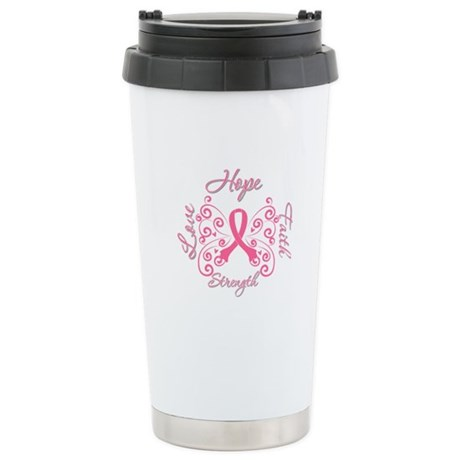 Breast Cancer Butterfly Hope Ceramic Travel Mug