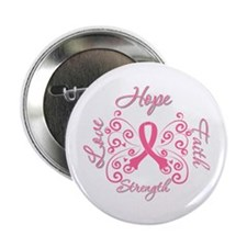 """Breast Cancer Butterfly Hope 2.25"""" Button"""