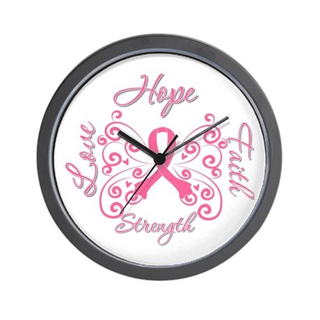 Breast Cancer Butterfly Hope Wall Clock