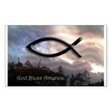 God Bless America Rectangular Decal