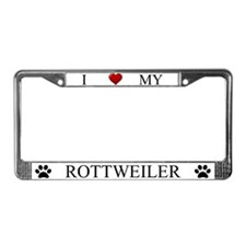 White I Love My Rottweiler License Plate Frame