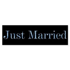 Blue Camo Just Married Bumper Bumper Sticker
