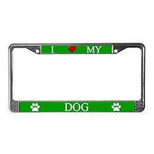 Green I Love My Dog License Plate Frame