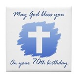 Christian 70th Birthday Tile Coaster