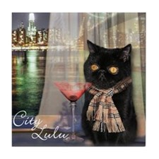 City Lulu Black Cat Tile Coaster