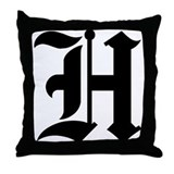 Letter &quot;H&quot; (Gothic Initial) Throw Pillow
