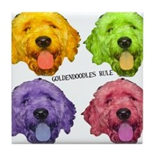 Goldendoodles Rule Tile Coaster