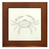 Blue Crab Art Framed Tile