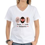 Peace Love Pediatrics D.O. Women's V-Neck T-Shirt