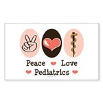 Peace Love Pediatrics D.O. Sticker (Rectangle)