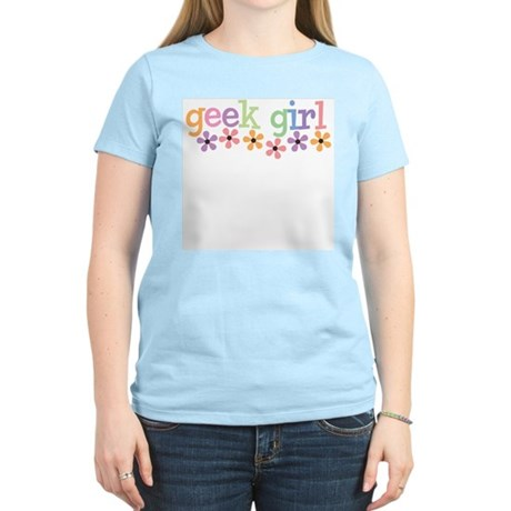 Geek Girl Daisies Women's Light T-Shirt