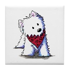 Kissing Bandit Westie Tile Coaster
