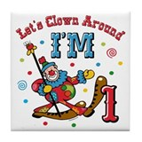 Clown Around 1st Birthday Tile Coaster