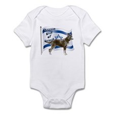 Brown Canaan dog and flag Infant Bodysuit