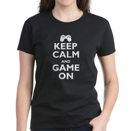 Keep Calm and Game On (parody Women's Dark T-Shirt