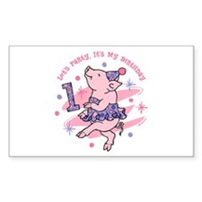 Tutu Piggy 1st Birthday Decal