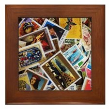 International Stamp Collection Art Framed Tile