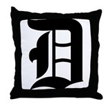 Letter &quot;D&quot; (Gothic Initial) Throw Pillow