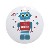 Robot 3rd Birthday Ornament (Round)