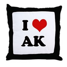I Love Alaska Throw Pillow