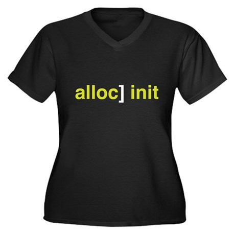 alloc] init Women's Plus Size V-Neck Dark T-Shirt