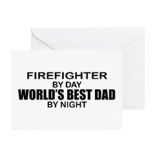 World's Best Dad - Firefighter Greeting Cards (Pk