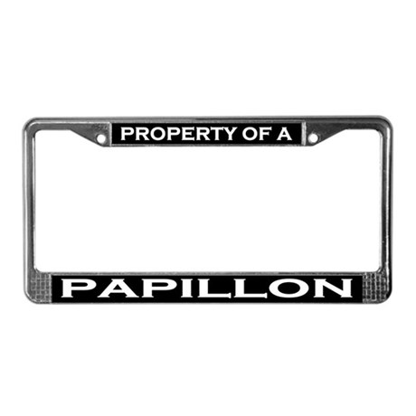 Property of Papillon License Plate Frame