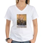 First to Fight for Democracy' Women's V-Neck T-Shi