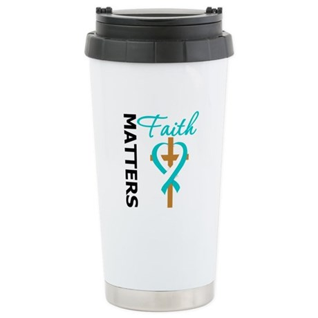 CervicalCancer FaithCross Ceramic Travel Mug