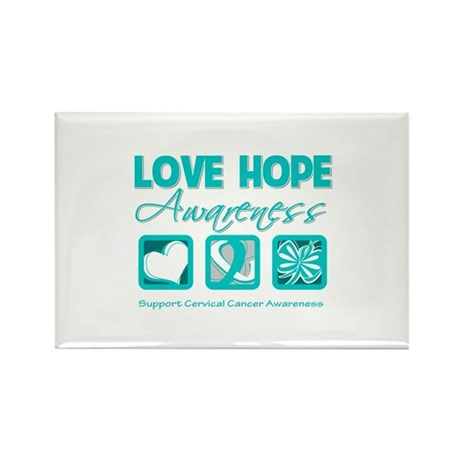 Cervical Cancer LoveHope Rectangle Magnet