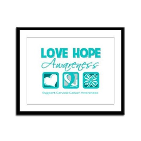 Cervical Cancer LoveHope Framed Panel Print