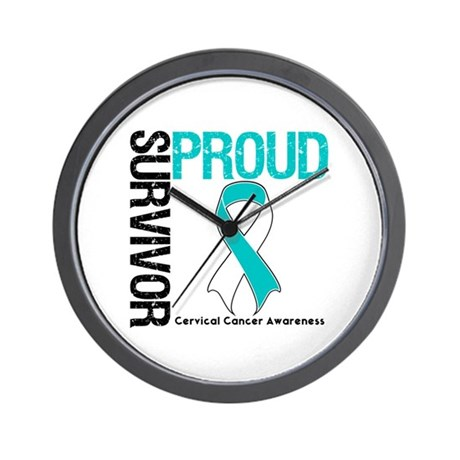 CervicalCancer ProudSurvivor Wall Clock