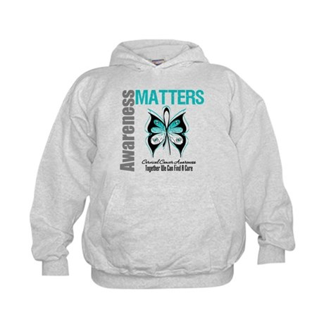 Cervical Cancer ButterflyArt Kids Hoodie